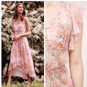 Anthropologie Sidra Floral Chiffon Midi Dress